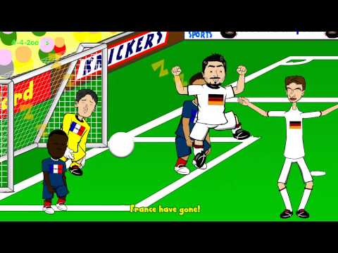 FRANCE vs GERMANY 0-1 HIGHLIGHTS by 442oons (4.7.14 World Cup Cartoon Hummels)