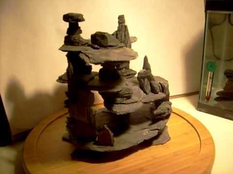My home made slate cave aquarium decoration - YouTube