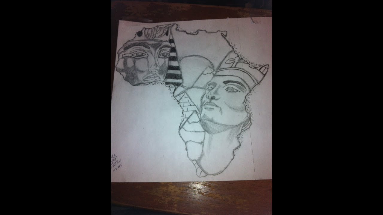 King tut and queen nefertiti africa outline drawing by ced for Tattoo removal in queens