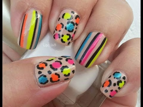Nail Art - Neon and Nude
