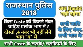 Rajasthan Police Constable 2018,किस Caste को किस भाग में कितने नंबर चाहिए, Pass होने के लिए, Hindi