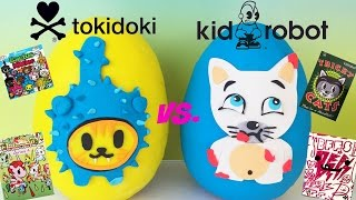 TOKIDOKI vs  KIDROBOT Play Doh Surprise Eggs! Cactus Kitties BFFS Tricky Cats Unicorno Blind Boxes