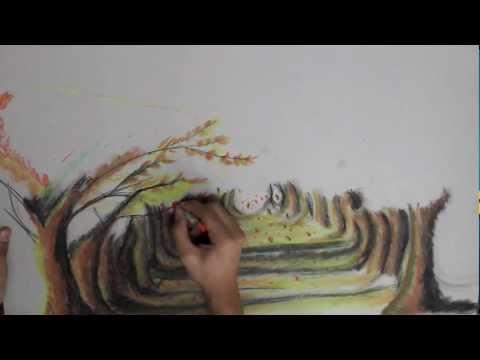 Oil Tree Paintings Tree Oil Pastel Painting