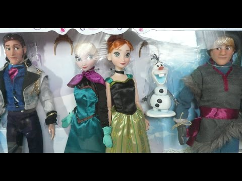 Disney Store Frozen Deluxe Doll Gift Set Review Anna Elsa Olaf Hans Kristoff