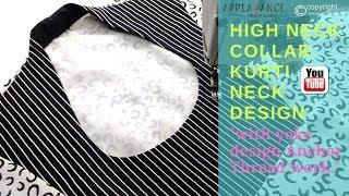 high neck collar kurti design with yoke embroidery thread work