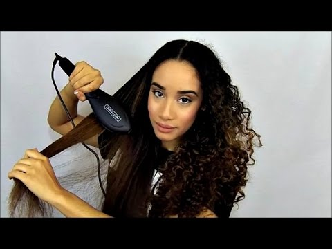 Review   Straightening Ceramic Brush + Curly to Straight Hair Tutorial
