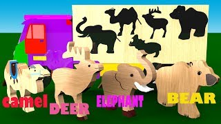 Wooden Animals Toys Wrong Shadow Matching Game On Transporter Truck For Kids | Fun Animation Video