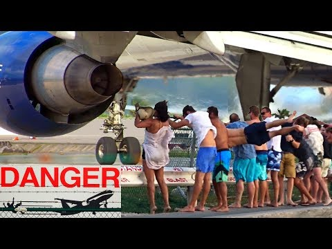 8 spectacular & dangerous Jet Blast Videos from Maho Beach at St. Maarten with different aircrafts
