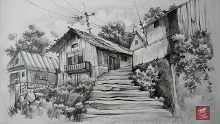 How To Draw and Shade Old Wooden Houses With Pencil