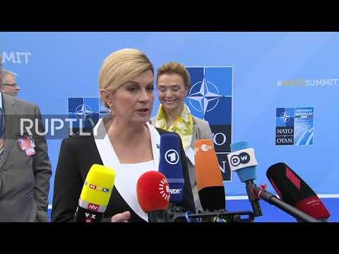 Belgium: 'We'll win on Sunday' - Croatian pres. arrives for NATO Summit following Juncker, Macron