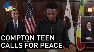 16-Year-Old Davion Pilgrim Calls For Unity and Peace During Protests | NBCLA