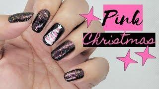Nail Art - Pink Christmas Tree - Uñas de Navidad - Linda165