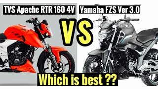 Yamaha FZS V3 VS TVS Apache RTR 160 4v | Detailed comparision