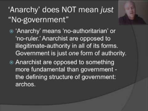 """anarchy v authoritarianism A libertarian believes that you have the ethical right to own your own body, your own labor, and the product of your labor you may use it, trade it, dispose of it however, whenever, wherever, and with whomever no one — not even a """"duly elected."""