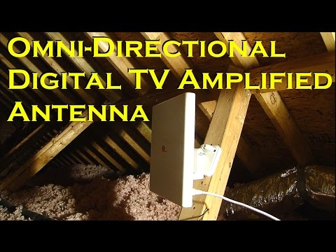 Omni-directional Amplified Digital TV Off-Air Antenna - 60 Miles - 1BYONE