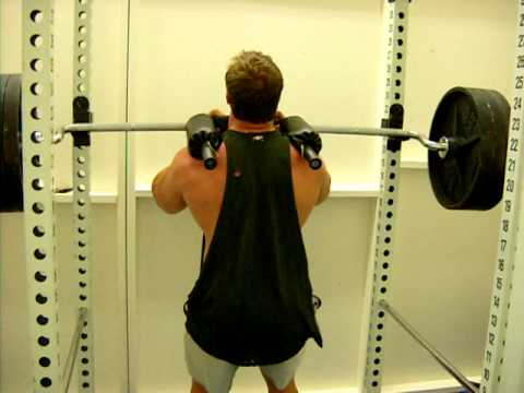 Front squats with safety squat bar 345x12 youtube for Homemade safety squat bar