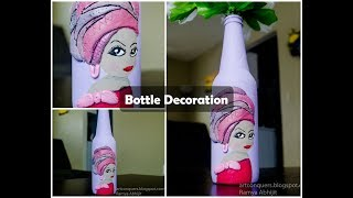 Bottle decoration Ideas with Clay|Bottle painting  design tutorial|Wine bottle crafts for beginners
