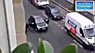 لحظة اطلاق النار على صحيفة شارلى إبدو الفرنسية فى باريس الذى ادي مقتل 12وإصابة 10