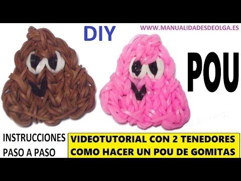 COMO HACER UN POU DE GOMITAS (LIGAS) CHARMS CON DOS TENEDORES