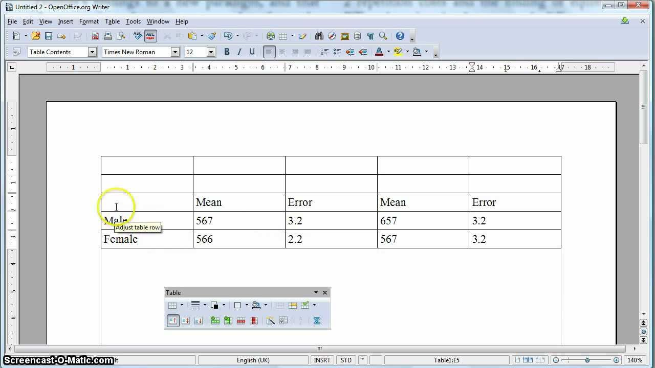 apa formatted table in open office