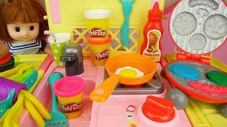Play doh burger and baby doll kitchen food cooking play