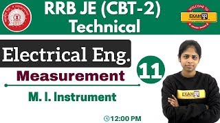 Class 11 ||#RRB JE (CBT - 2) Technical || Electrical Eng.| By Deepa Ma'am || M. I. Instrument
