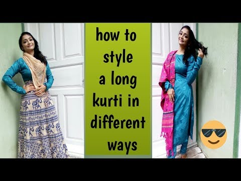 how to style a long kurti in different ways || Indian ethnic wear || how style Indian ethnic wear