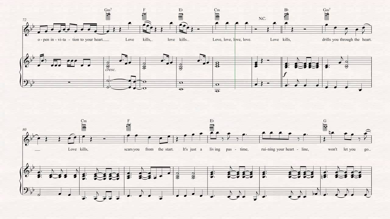 Ukulele - Love Kills - Queen Sheet Music, Chords, u0026 Vocals - YouTube