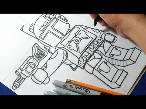 Видео как нарисовать лего Звездные Войны