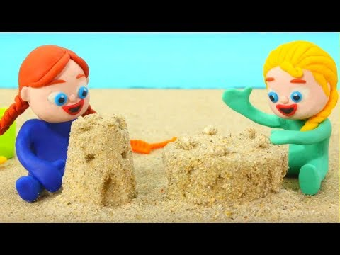 Frozen Elsa & Anna Play With Sand Figures - Superhero Babies Play Doh Cartoons - Stop Motion Movies