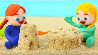 Frozen Elsa & Anna Play With Sand Figures - Superhero Babies Play Doh Cartoons - Stop Motion Movies
