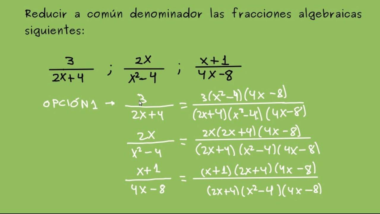 Reducci n de fracciones algebraicas a com n denominador for Pared de 15 ladrillo comun