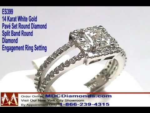 Split Band Pave Halo Princess Diamond Engagement Ring MDC Diamonds NY Engagement Rings