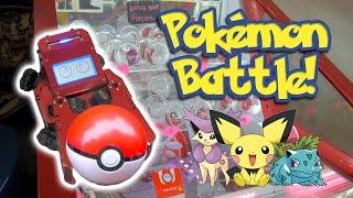 Who can win more Pokeballs? Robot Pokemon arcade game battle at NeoFuns!   The Crane Couple