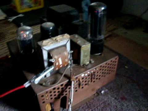 HILLBILLY HI-FI !   Grandpa's homemade vacuum tube amp!