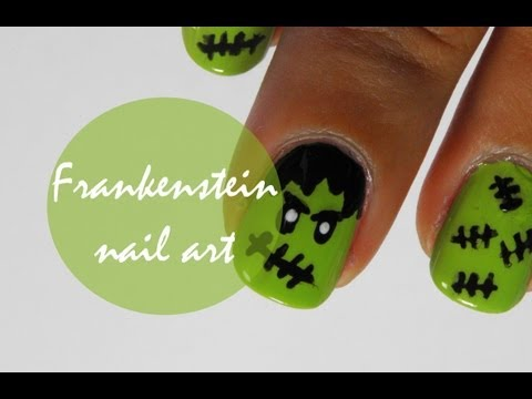 Halloween Frankenstein nail art tutorial