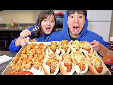 Chili Hot Dogs with Tater Tots Mukbang | Eating Show thumbnail