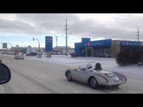 Stig & Darth Vader driving a Porsche Spyder in the Winter