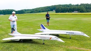 STUNNING FORMATION FLIGHT!! TWO RC MODEL JET CONCORDE / Airliner Meeting Oppingen 2017