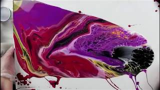 Fluid Acrylic Painting - Triple Flip Cup On A Large Canvas.. Not My Usual Colors!