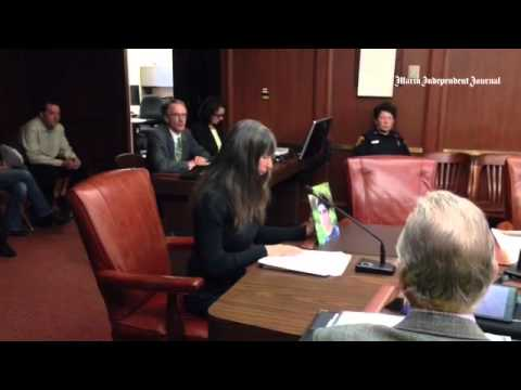 Kimberlyrenee Gamboa addresses Golden Gate Bridge board on suicide barrier.