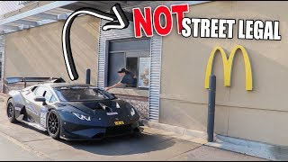 DRIVE THRU IN $1,000,000 LAMBORGHINI RACE CAR! (FUNNY REACTIONS)
