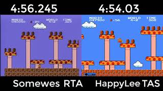 Super Mario Bros. TAS VS. RTA (4:56.245 by somewes, 4:54.03 by HappyLee.)