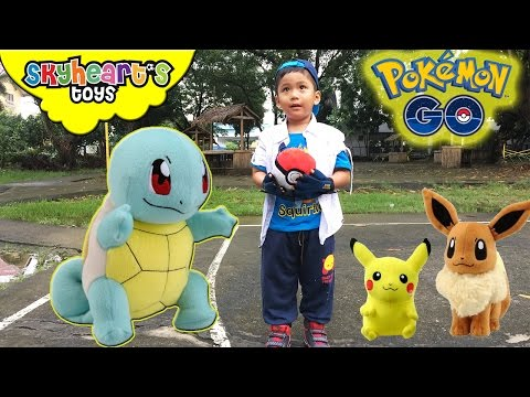 Toddler thinks he's inside POKEMON GO | Pikachu, Bulbasaur, Squirtle, Pokemon toys for kids