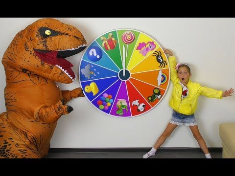 Magic Spin WHEEL and Funny kids playing with Baby Toys Excavator and Toy DINOSAUR