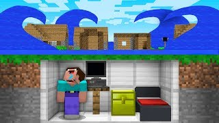 How NOOB SURVIVE From TSUNAMI In Underground Minecraft BUNKER!