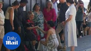 Prince Harry and Meghan Markle meet with locals on Fraser Island
