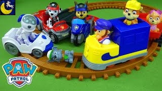 Funny Toy Stories for Kids Paw Patrol Toys Mission Paw Pups VS Rubble's Train Set Marshall Chase