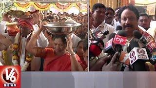 Vasantha Panchami | Dy CM Kadiyam Srihari Offers Holy Clothes To Gnana Saraswati In Basar