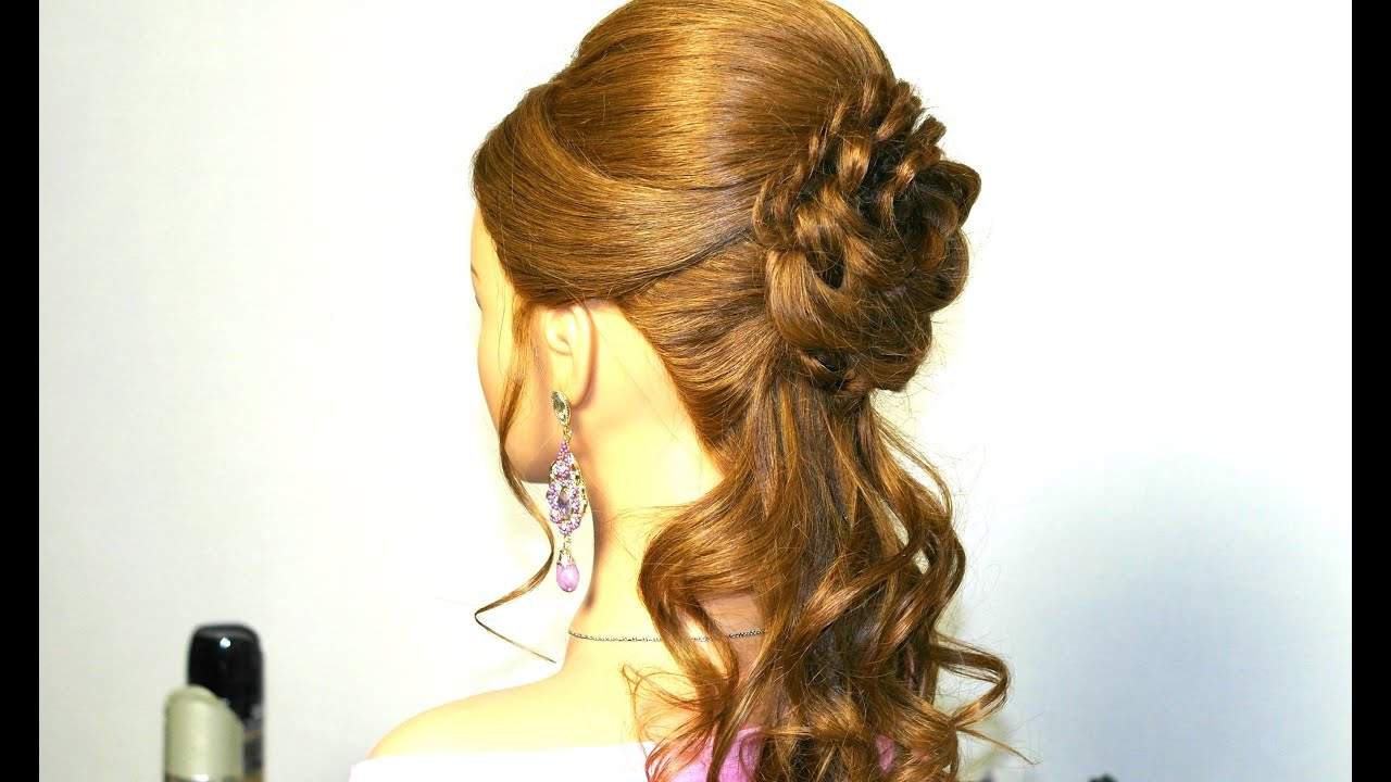 Romantic Prom Hairstyle For Long Hair With Braided Flower